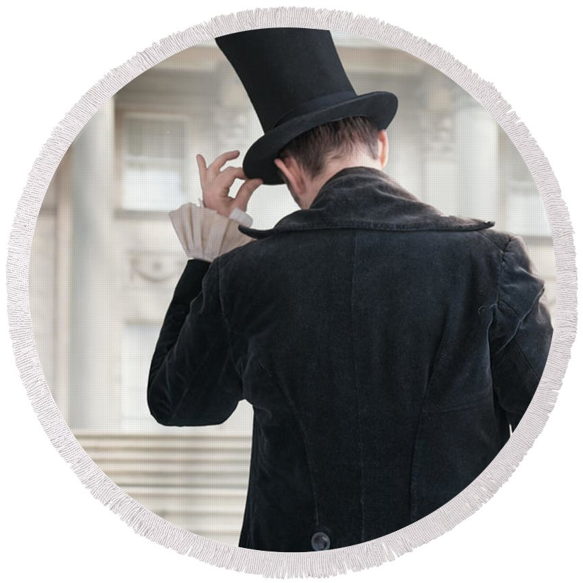 2e21fa994 Victorian Gentleman Doffing His Top Hat Round Beach Towel