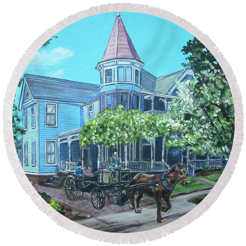 Victorian Round Beach Towel featuring the painting Victorian Greenville by Bryan Bustard