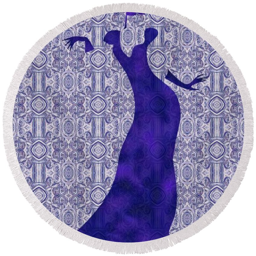 Victorian Lady In Blue Round Beach Towel featuring the painting Victorian Lady In Blue by Barbara St Jean