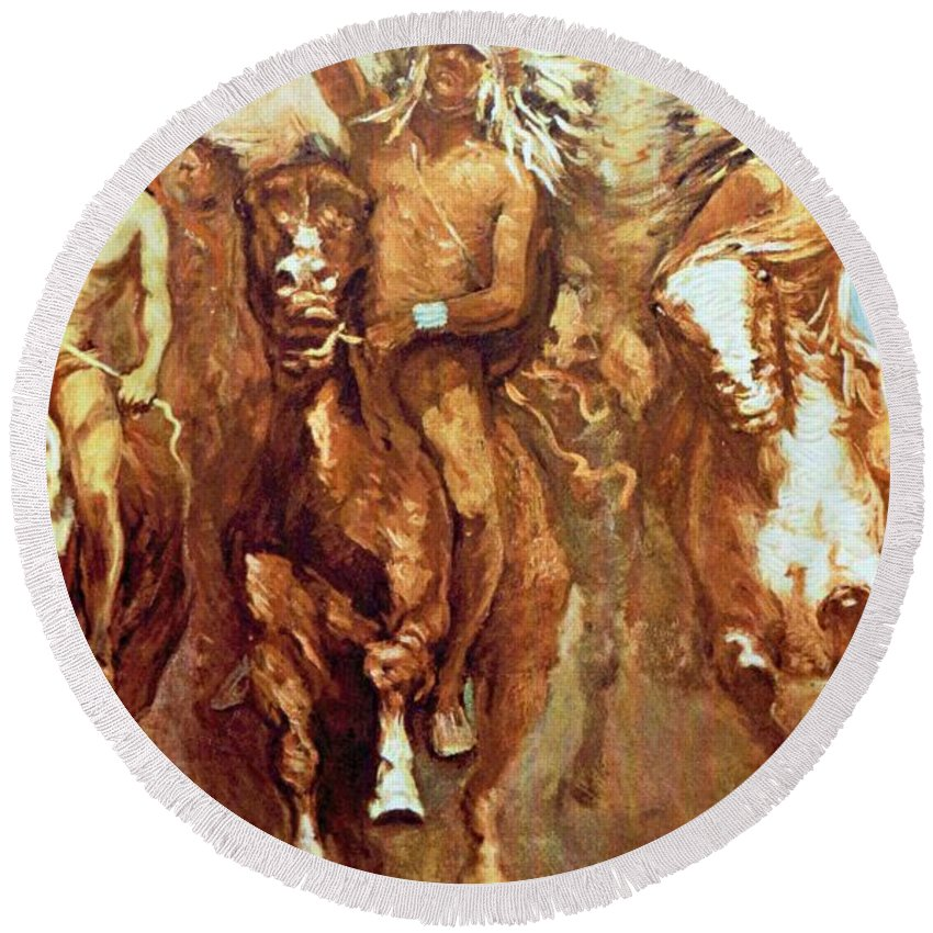 Victory Dance Round Beach Towel featuring the digital art Victory Dance Detail by Frederic Remington