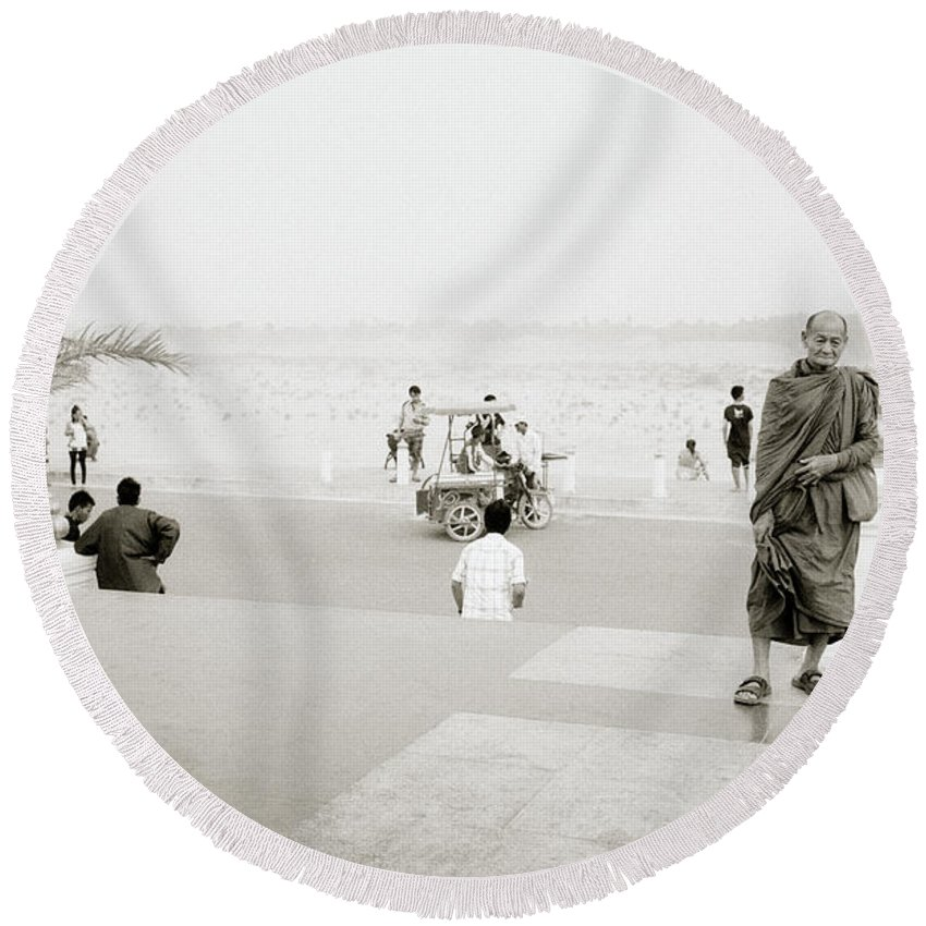 Asia Round Beach Towel featuring the photograph Vientiane Monk by Shaun Higson