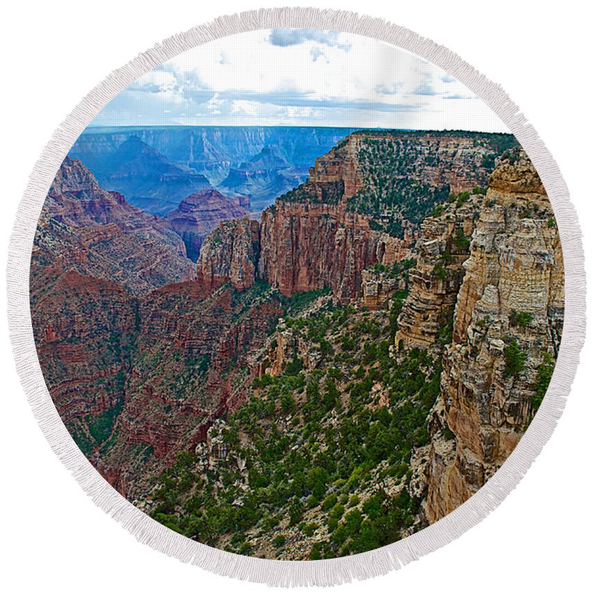 View Five From Walhalla Overlook On On North Rim/grand Canyon National Park Round Beach Towel featuring the photograph View Five From Walhalla Overlook On North Rim Of Grand Canyon-arizona by Ruth Hager