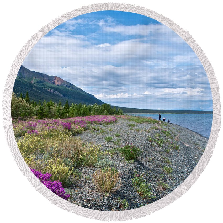 View Four Kluane Lake From Cottonwood Campground Near Destruction Bay Round Beach Towel featuring the photograph View Four Kluane Lake From Cottonwood Campground Near Destruction Bay-yk by Ruth Hager