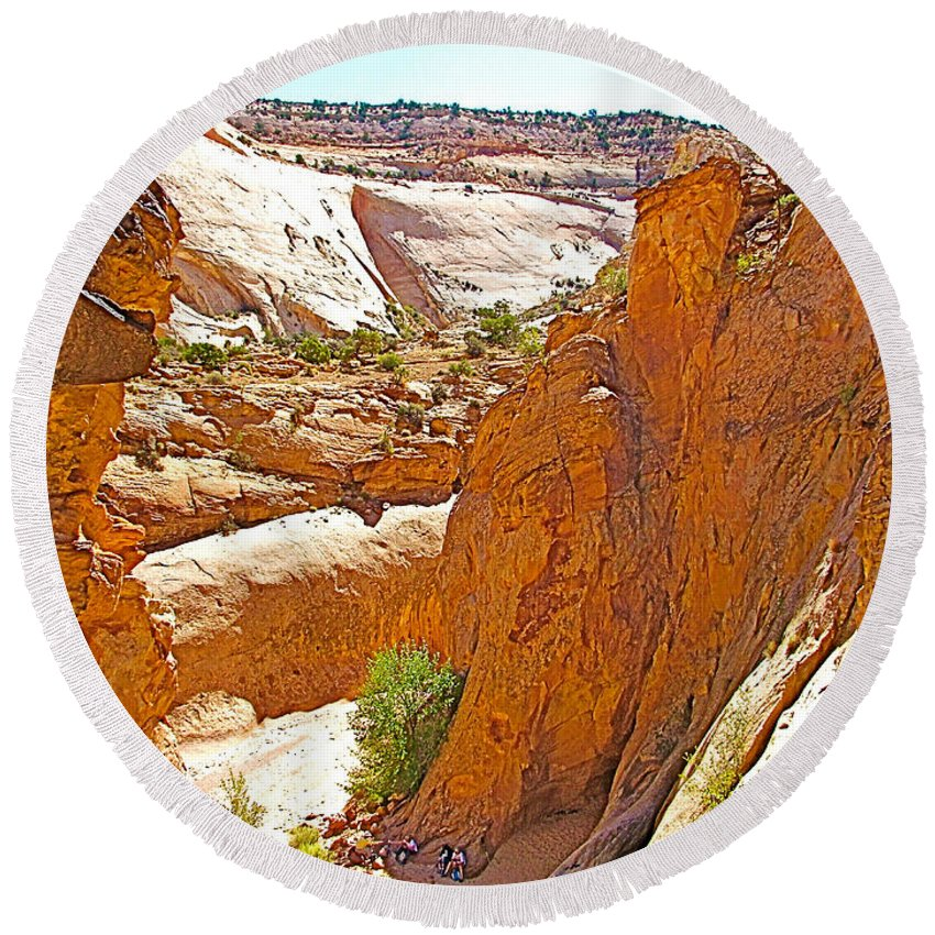 View From Above Capitol Gorge Pioneer Trail In Capitol Reef National Park Round Beach Towel featuring the photograph View From Above Capitol Gorge Pioneer Trail In Capitol Reef National Park-utah by Ruth Hager