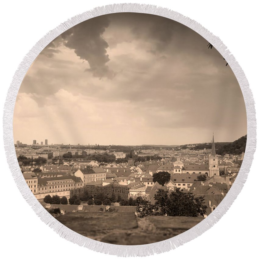 Mala Round Beach Towel featuring the photograph View From Hradcany Of Mala Strana by Michal Bednarek