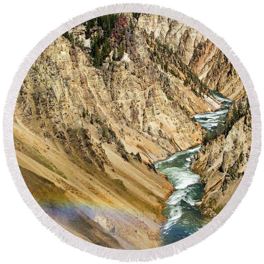 Yellowstone Round Beach Towel featuring the photograph View From Lower Falls Of The Yellowstone River by Ralf Broskvar