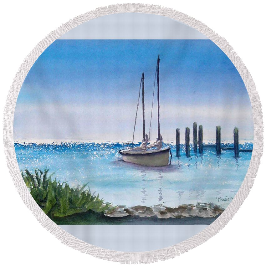 Boats Round Beach Towel featuring the painting View From The Barnacle by Terry Arroyo Mulrooney