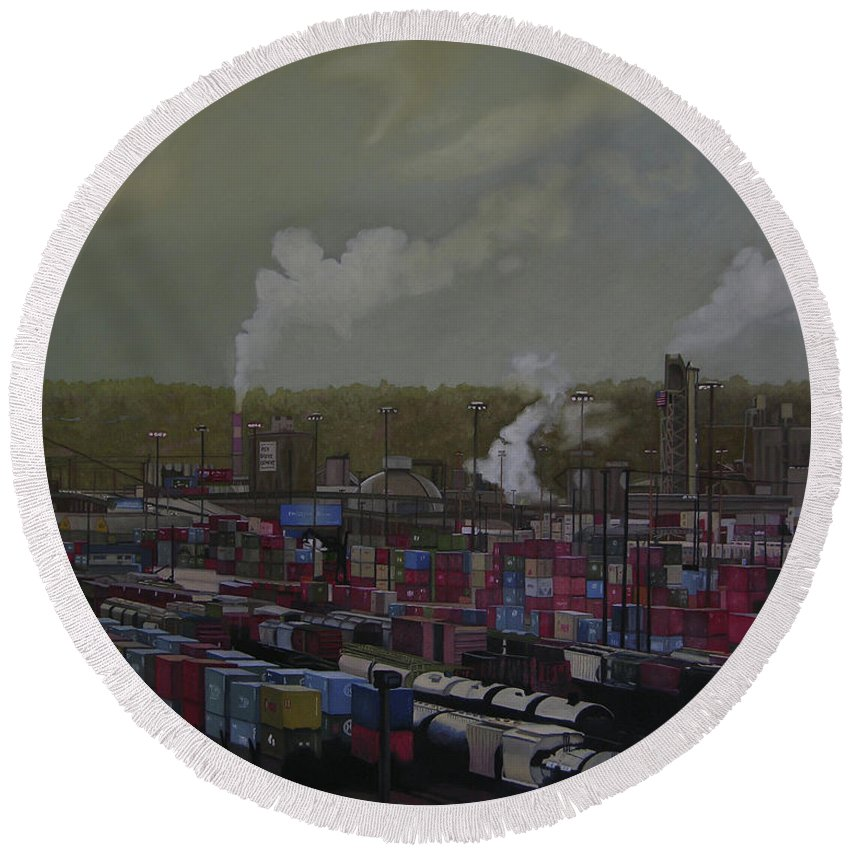Industrial Landscape Round Beach Towel featuring the painting View From Viaduct by Thu Nguyen