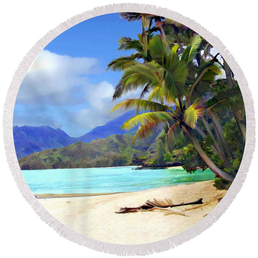Hawaii Round Beach Towel featuring the photograph View From Waicocos by Kurt Van Wagner