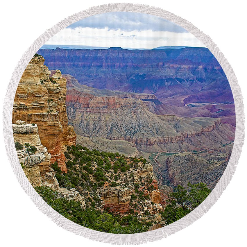 View From Walhalla Overlook On On North Rim/grand Canyon National Park Round Beach Towel featuring the photograph View From Walhalla Overlook On North Rim Of Grand Canyon-arizona by Ruth Hager