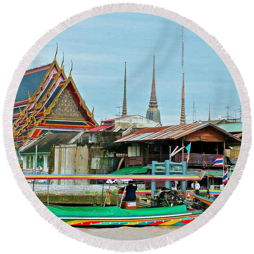 View Of Temple From Waterway In Bangkok Round Beach Towel featuring the photograph View Of A Temple From Waterway Of Bangkok-thailand by Ruth Hager