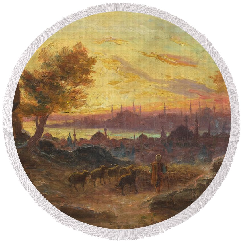 Francois Prieur-bardin Round Beach Towel featuring the painting View Of Constantinople by Francois Prieur-Bardin