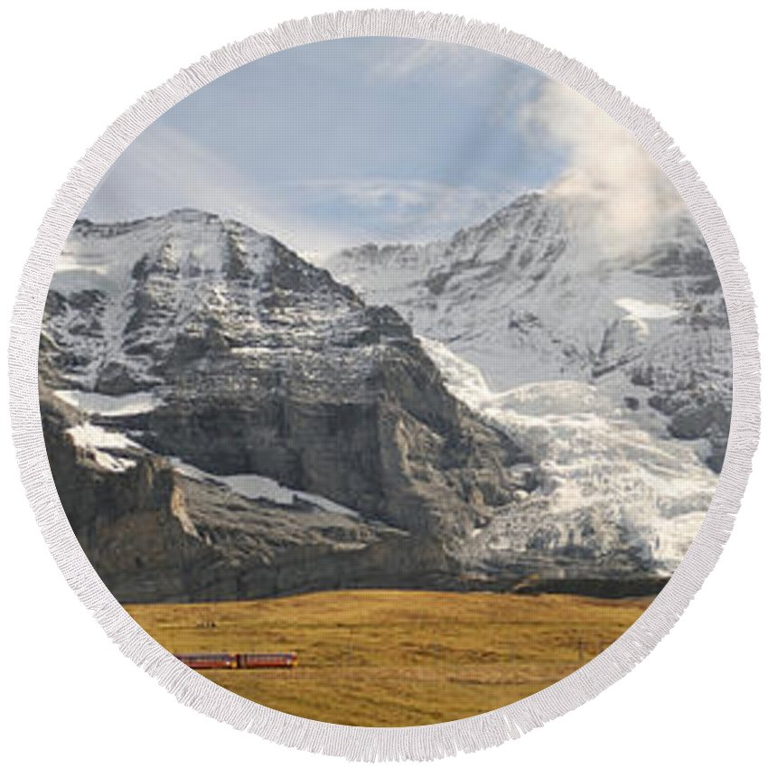 Photography Round Beach Towel featuring the photograph View Of Mt Eiger And Mt Monch, Kleine by Panoramic Images