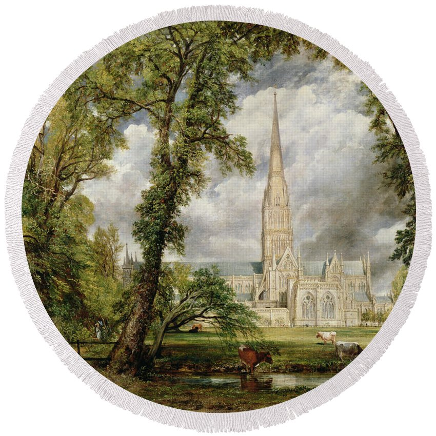 View Of Salisbury Cathedral From The Bishops Grounds Round Beach Towel featuring the painting View Of Salisbury Cathedral From The Bishop's Grounds by John Constable