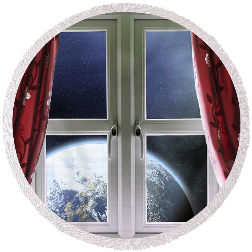 Window Round Beach Towel featuring the photograph View Of The Earth Through A Window With Curtains by Simon Bratt Photography LRPS