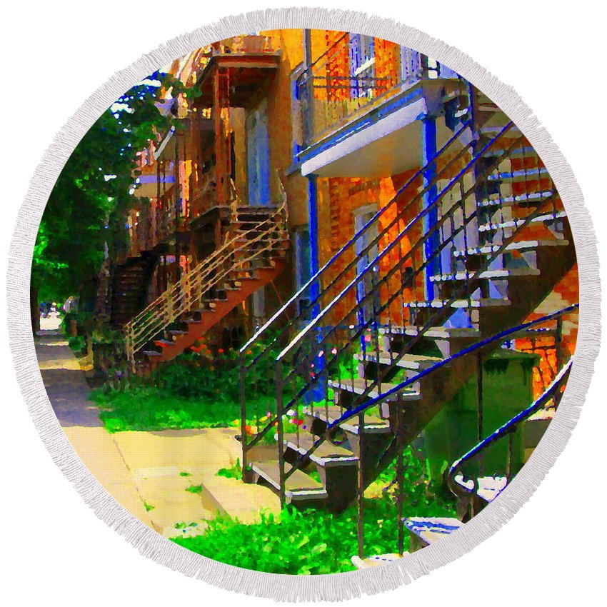 Montreal Round Beach Towel featuring the painting View Of Verdun Steps Stairs Staircases Winding Through Summer Montrealstreet Scenes Carole Spandau by Carole Spandau