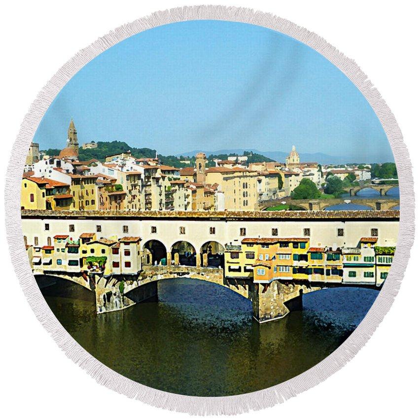 Italy Round Beach Towel featuring the photograph View On Ponte Vecchio From Uffizi Gallery by Irina Sztukowski
