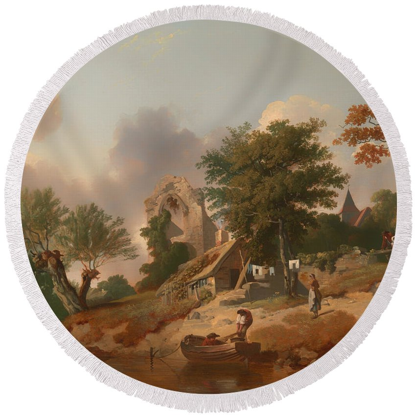 Painting Round Beach Towel featuring the painting View On The Medway by Mountain Dreams