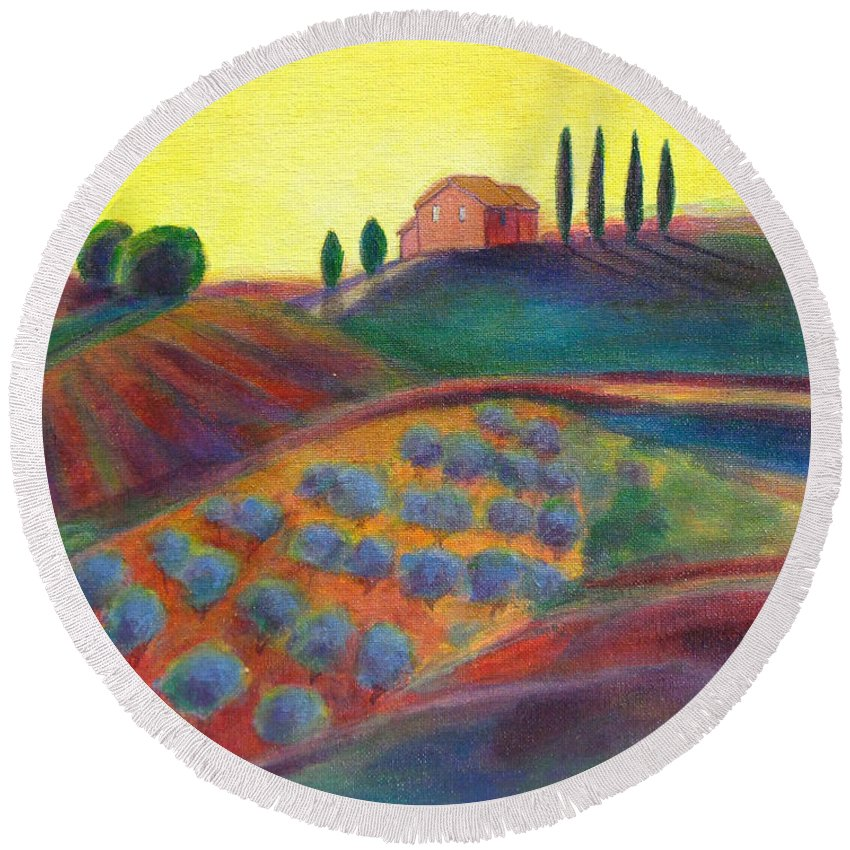 Olive Grove Round Beach Towel featuring the painting View On The Olive Grove by Robie Benve