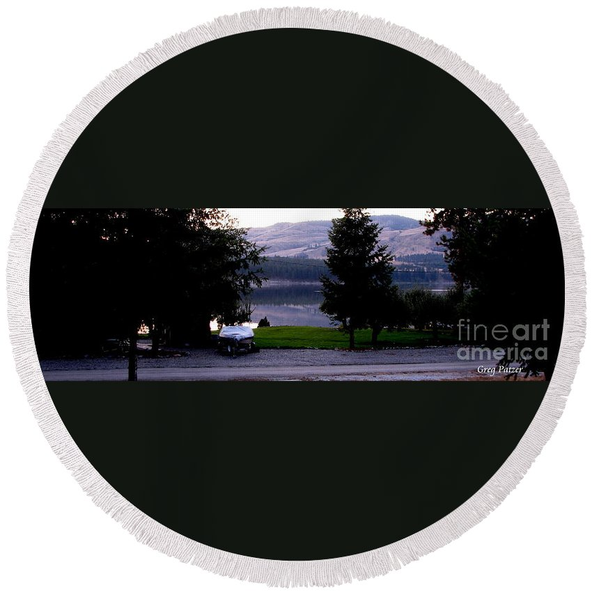 Art For The Wall...patzer Photography Round Beach Towel featuring the photograph View To Columbia by Greg Patzer