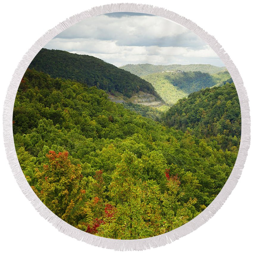Appalachian Mountains Round Beach Towel featuring the photograph View To The Valley by Phill Doherty
