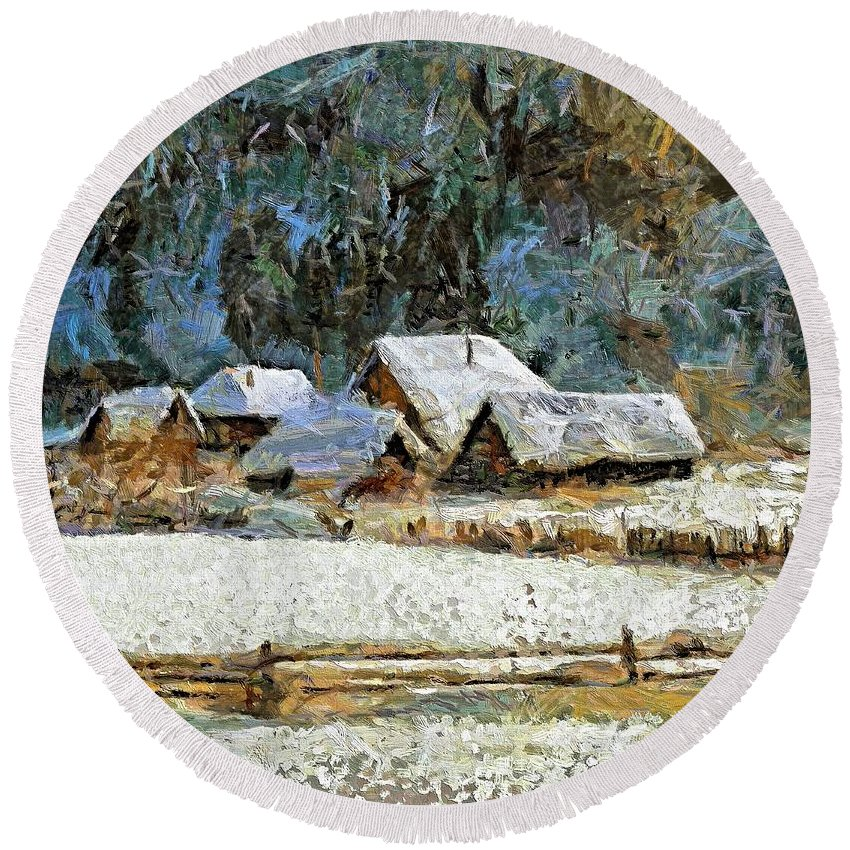 Landscapes Round Beach Towel featuring the painting Village In Winter by Dragica Micki Fortuna
