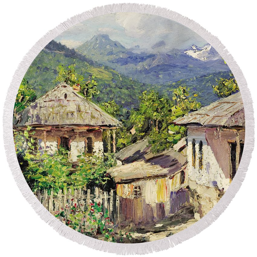 Nikolay Dubovskoy Village Scene In The Mountains Round Beach Towel featuring the painting Village Scene In The Mountains by Nikolay Dubovskoy