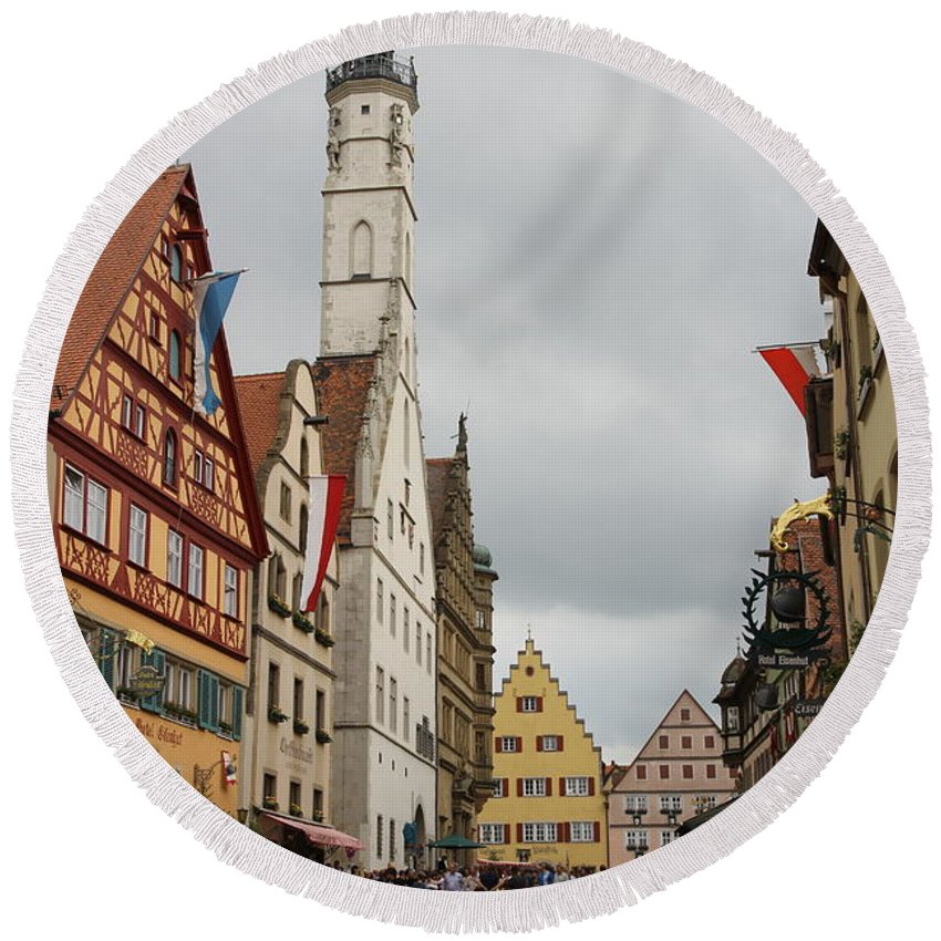 Village Round Beach Towel featuring the photograph Village Scene Rothenburg Ob Der Tauber by Christiane Schulze Art And Photography