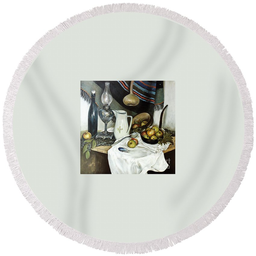 Still Life Round Beach Towel featuring the painting Village Still Life by Grigor Malinov