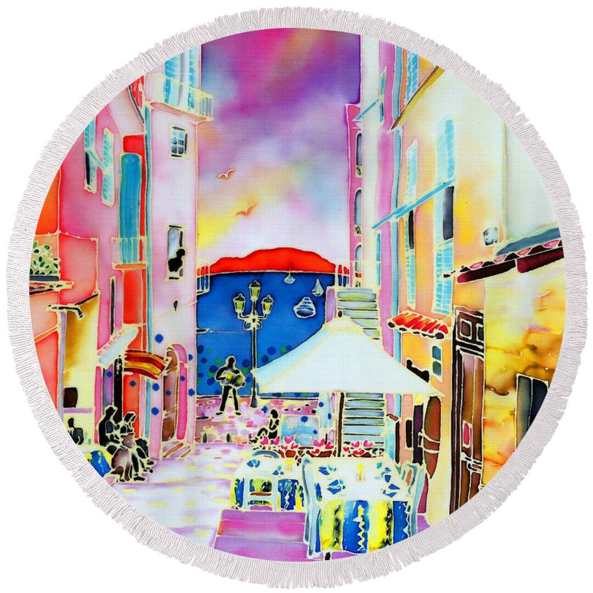 South France Round Beach Towel featuring the painting Villefranche by Hisayo Ohta