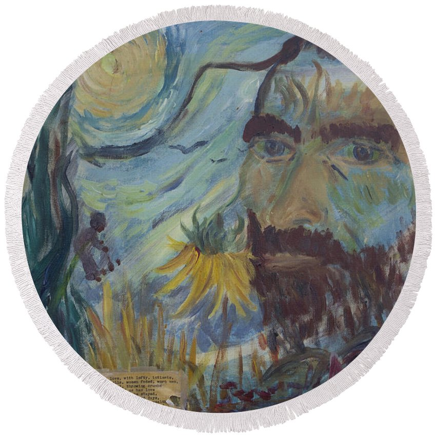 Paintings Of Van Gogh Round Beach Towel featuring the painting Vincent by Avonelle Kelsey