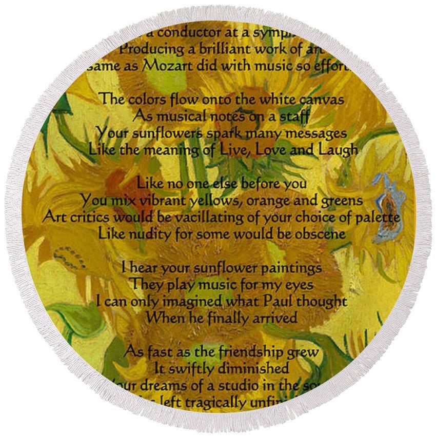 Vincent's Sunflower Song Round Beach Towel featuring the drawing Vincent's Sunflower Song by Jose A Gonzalez Jr
