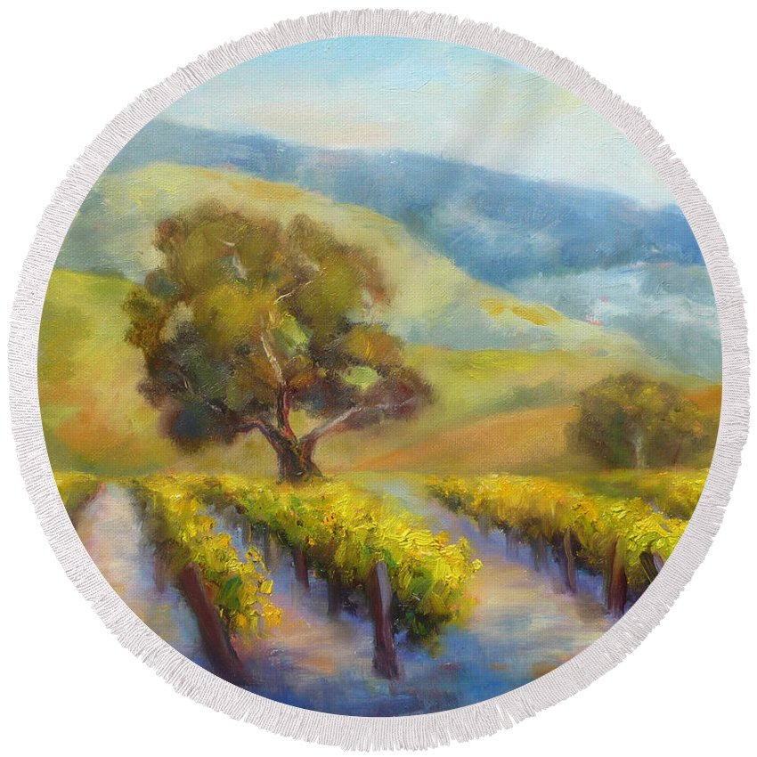Vineyards Round Beach Towel featuring the painting Vineyard Gold by Carolyn Jarvis
