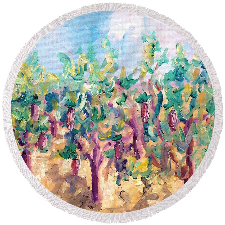 Vineyard Round Beach Towel featuring the painting Vineyard In The Afternoon Sun by Todd Bandy