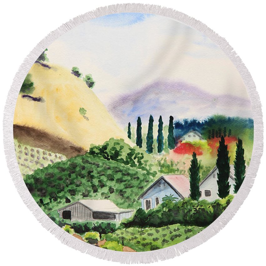Vineyard Round Beach Towel featuring the painting Vineyard by Masha Batkova