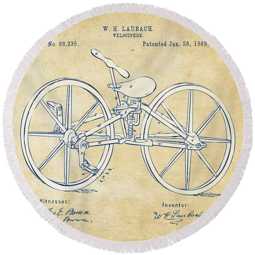 Bicycle Round Beach Towel featuring the digital art Vintage 1869 Velocipede Bicycle Patent Artwork by Nikki Marie Smith