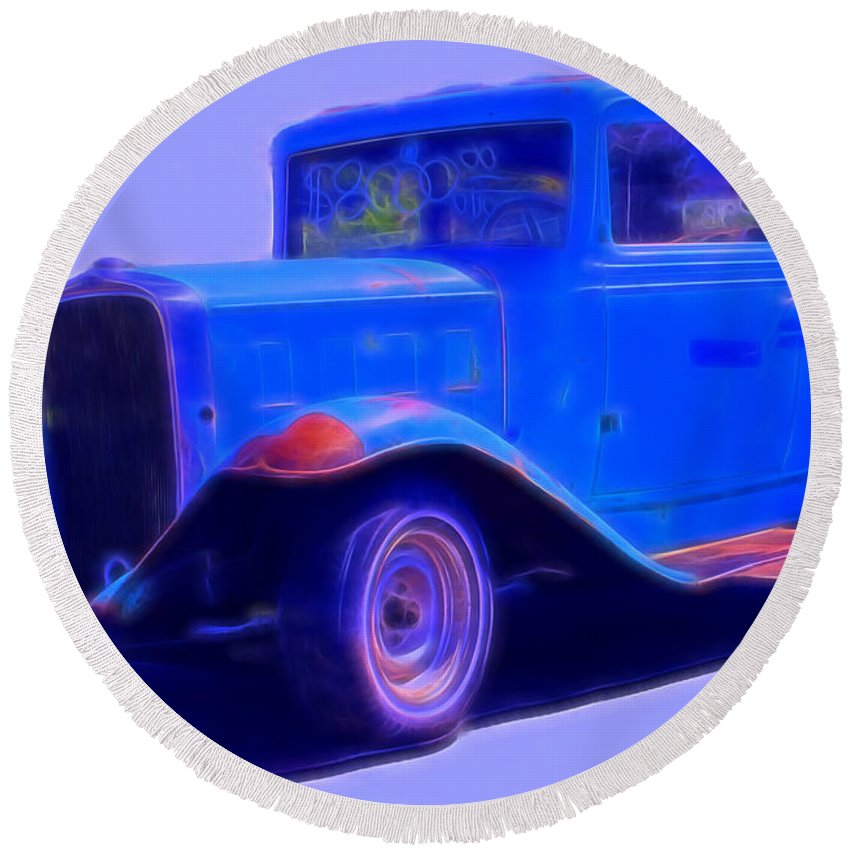 Round Beach Towel featuring the digital art Vintage 1940's Chevrolet by Cathy Anderson