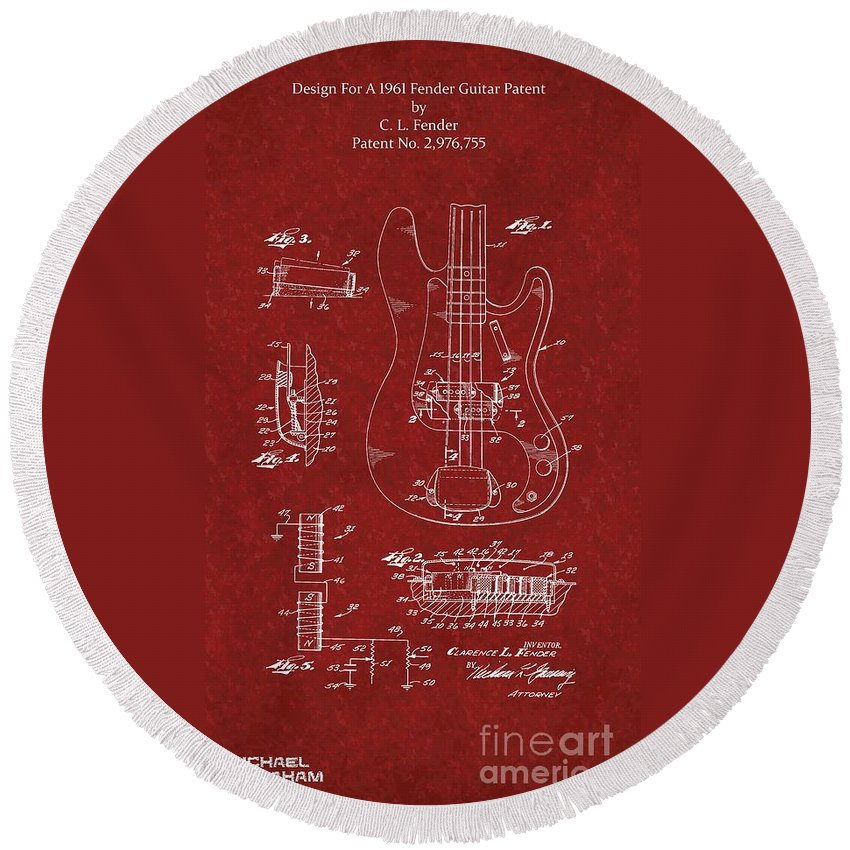 Fender Round Beach Towel featuring the photograph Vintage 1961 Fender Guitar Patent by Doc Braham