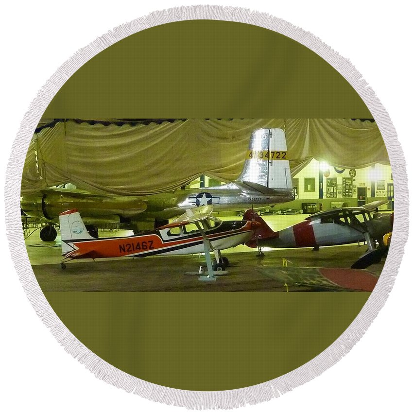 Vintage Airplanes On Display Round Beach Towel featuring the photograph Vintage Airplanes Display by Susan Garren