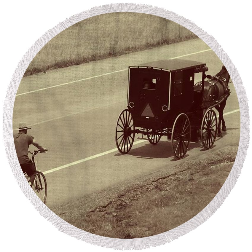 Amish Horse And Buggy In Ohio Round Beach Towel featuring the photograph Vintage Amish Buggy And Bicycle by Dan Sproul