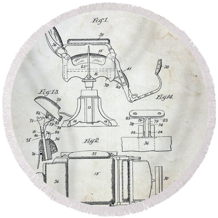 Paul Ward Round Beach Towel featuring the photograph Vintage Barber Chair Patent by Paul Ward