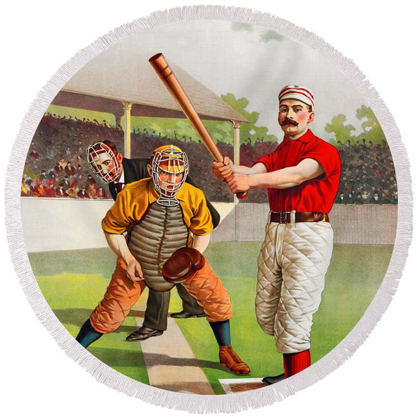 Baseball Round Beach Towel featuring the painting Vintage Baseball Print by John Farr