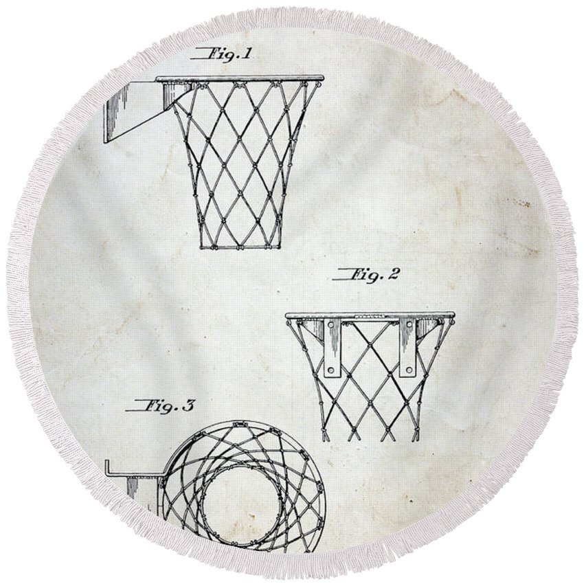Paul Ward Round Beach Towel featuring the photograph Vintage Basketball Hoop Patent by Paul Ward