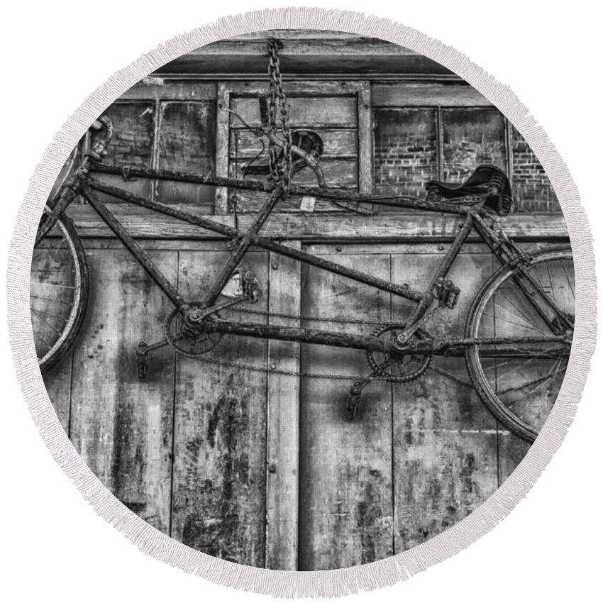 Bicycle Round Beach Towel featuring the photograph Vintage Bicycle Built For Two In Black And White by Kathleen K Parker