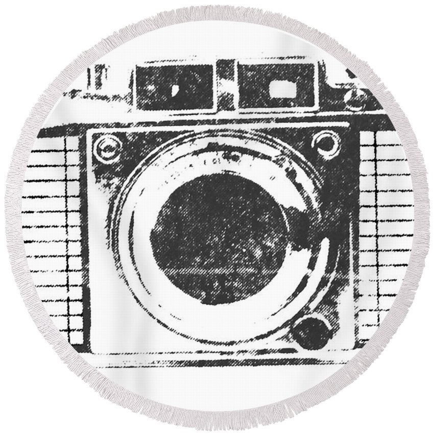 Camera Round Beach Towel featuring the photograph Vintage Camera by Martin Newman