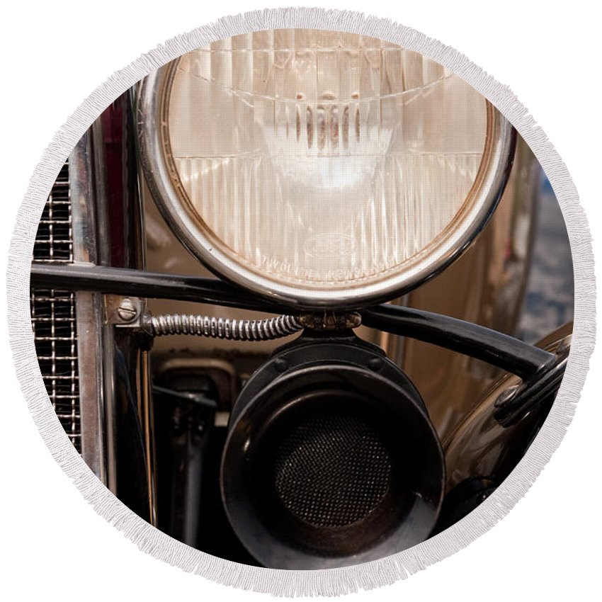 Car Round Beach Towel featuring the photograph Vintage Car Details 6295 by Brent L Ander