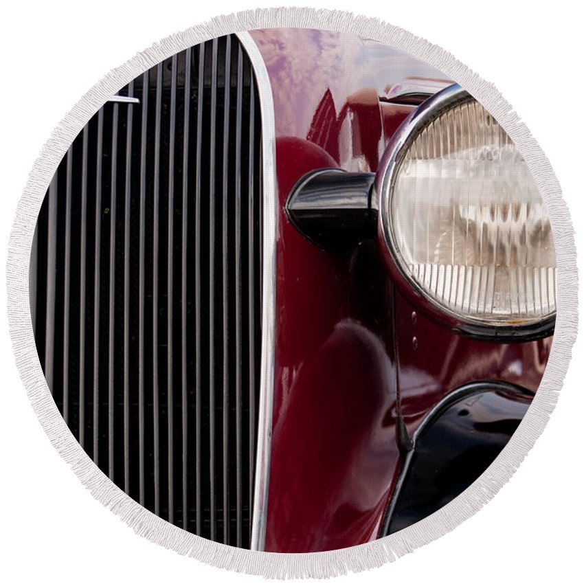 Car Round Beach Towel featuring the photograph Vintage Car Details 6297 by Brent L Ander