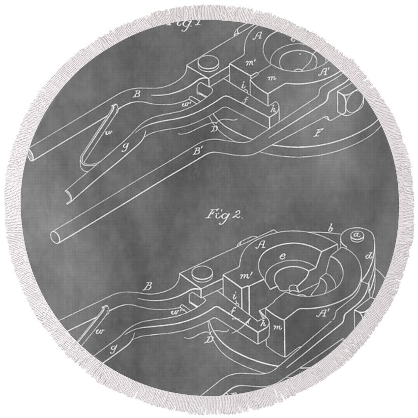 Glass Mold Patent Round Beach Towel featuring the digital art Vintage Glass Mold Patent by Dan Sproul