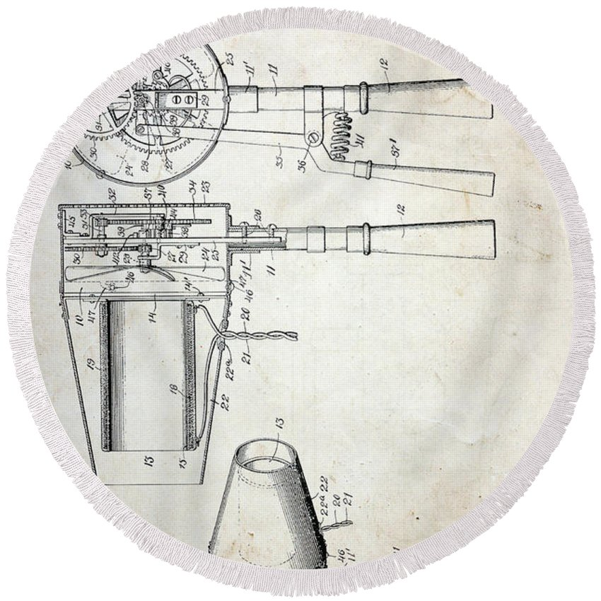 Paul Ward Round Beach Towel featuring the photograph Vintage Hair Dryer Patent by Paul Ward
