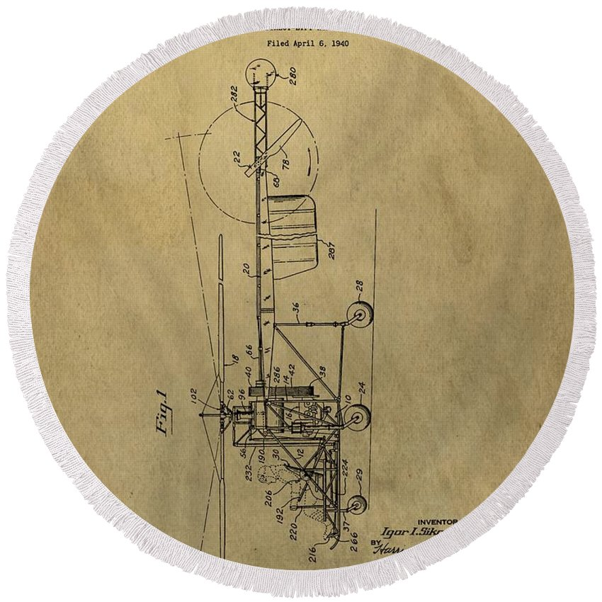 Vintage Helicopter Patent Round Beach Towel featuring the drawing Vintage Helicopter Patent by Dan Sproul